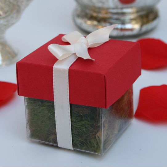 Wedding seed favor with red lid and ivory ribbon. Inside this petite box is a rooted oak tree seed...