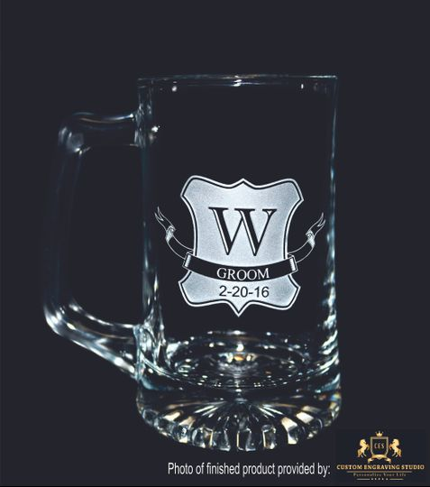 Personalized gifts available for the entire wedding party. This attractive 15 oz sports beer mug is...