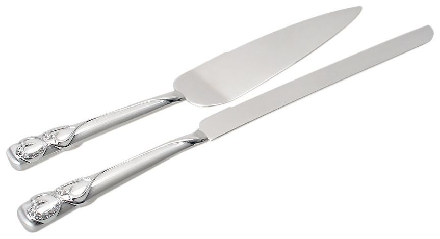 "2-TONE BRUSHED/SHINY SILVER HEARTS CAKE SERVER SET  - Server: Blade Is 2"" Wide And 6 1/4"" Long   -..."
