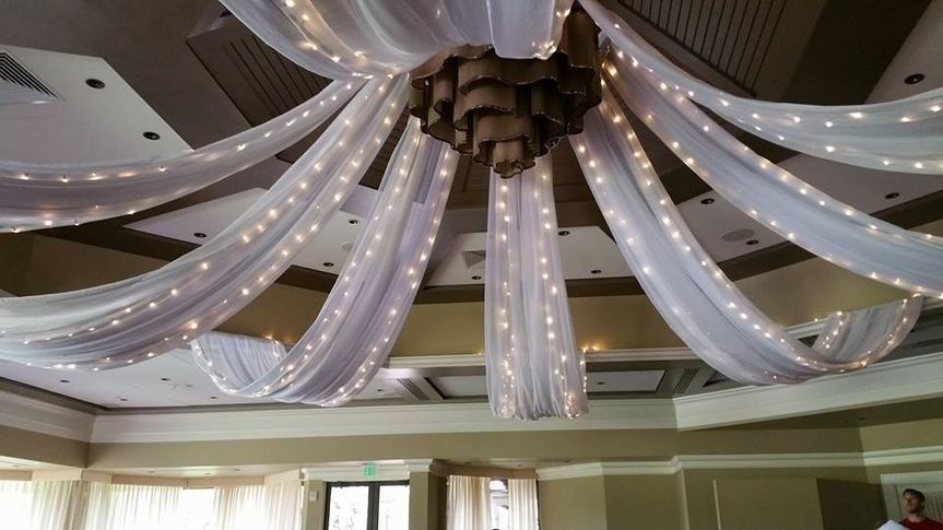 Drapes and string lights