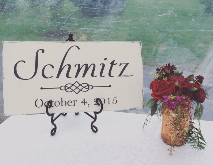 Our personalized name signs with established date are a perfect photo prop for your wedding...