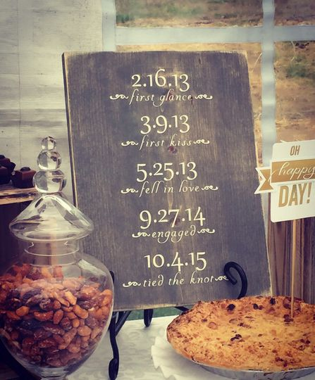 Add our beautiful personalized special dates sign to your wedding and keep for lasting memories.