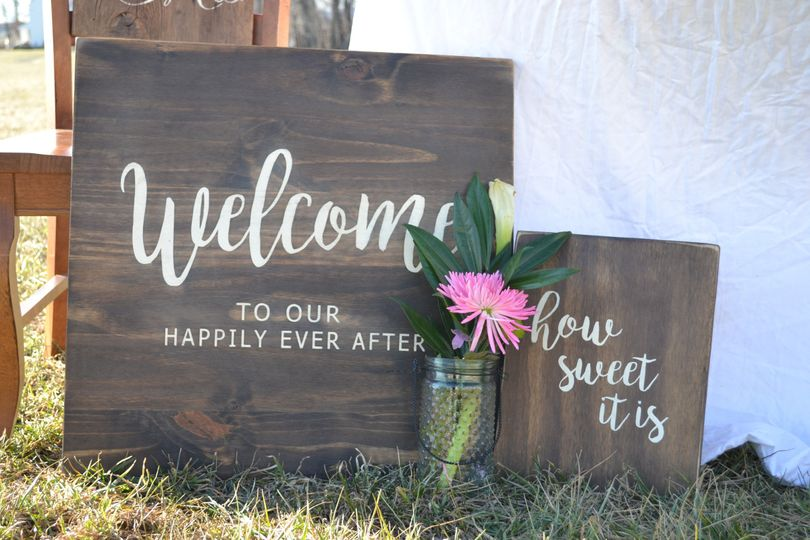 Welcome to Our Happily Ever After! Greet your guests with a hand painted Welcome Sign.