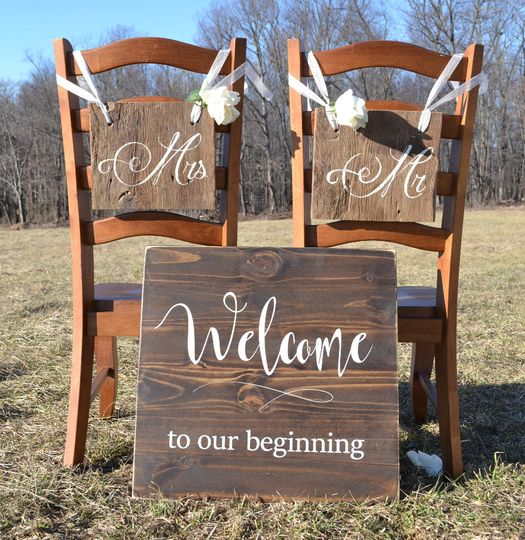 Welcome to our beginning! Greet your guests with a hand painted Welcome Sign.