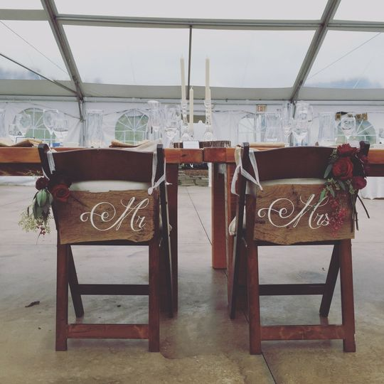 Mr and Mrs signs to hang on your head of the table chairs. Hand painted on barn wood and hung with...