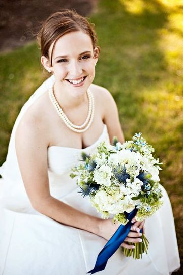 Bride with her bouquet in hand