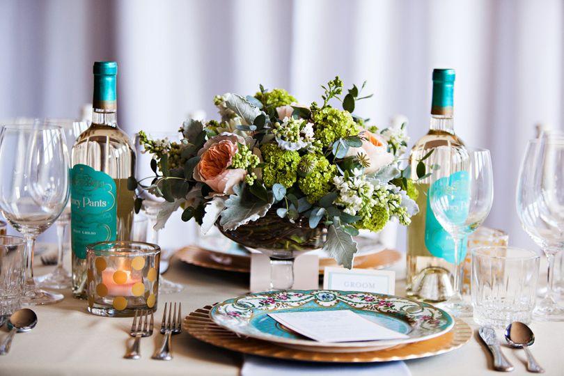 weddingcenterpieceblushmintturquoisebotanicafloral