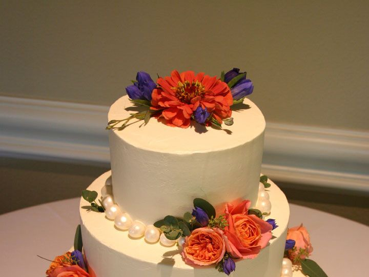Tmx 1405282757486 Wedding Cake Blue Coral White Rose Bakery Botanica Portland, Oregon wedding florist
