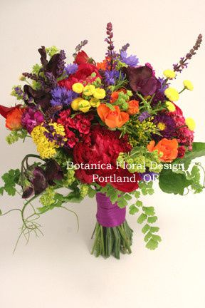 Tmx 1405282854246 Bright Wildflower Bridalbouquetpurplemagentayellow Portland, Oregon wedding florist