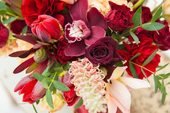 Tmx 1405284369262 Weddingcenterpieceburgundypeachuniquebotanicaflora Portland, Oregon wedding florist