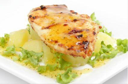 Grilled chicken on vegetables