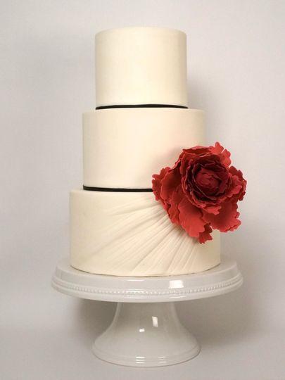 Ruched peony wedding cake