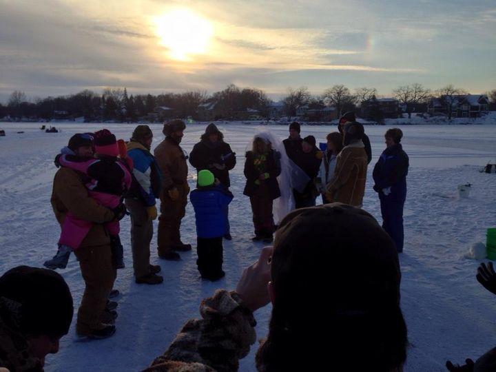 ice fishing ceremony a breath of new life wedding