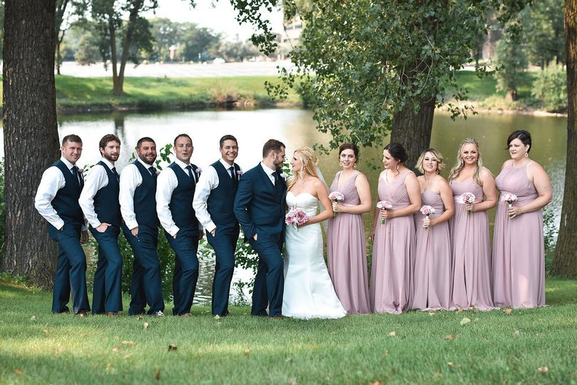 Bridal Party Photo by Pond