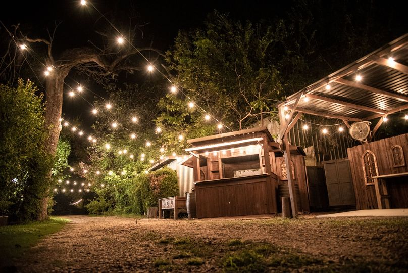 Twinkle lights light up the outdoor spaces