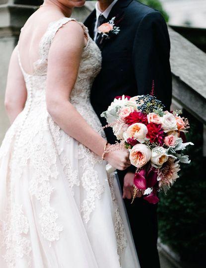 Bride with her wedding bouquet