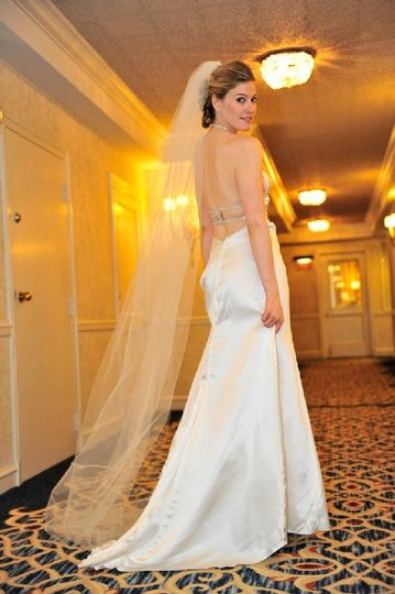 Boulangerie Bridal - Glace halter gown has jeweled back detail.