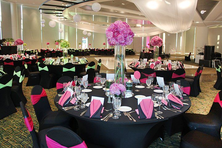Pink and green reception decor