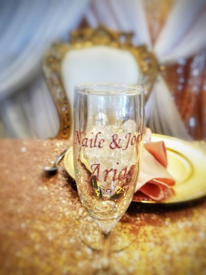 Bride and Groom seating with personalized glassware
