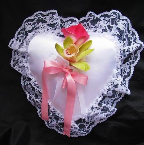 Ring Bearer Pillow - this satin pillow includes natural touch flowers that are available in your...