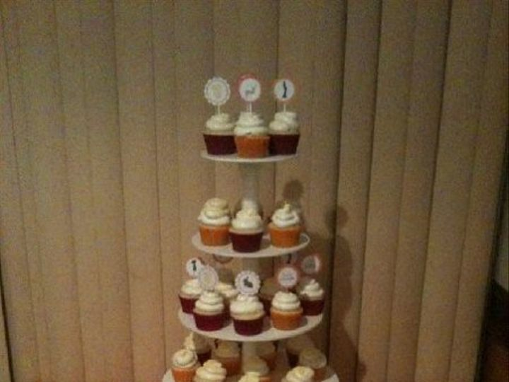 Tmx 1307561319703 AZDPinkandOrangeCupcakeTower Hollis wedding cake