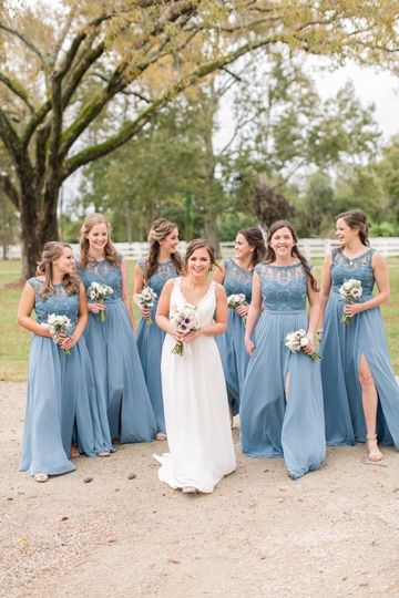 The bridal party in blue (Kelley Stinson Photography)