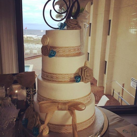 4-tier wedding cake with brown details