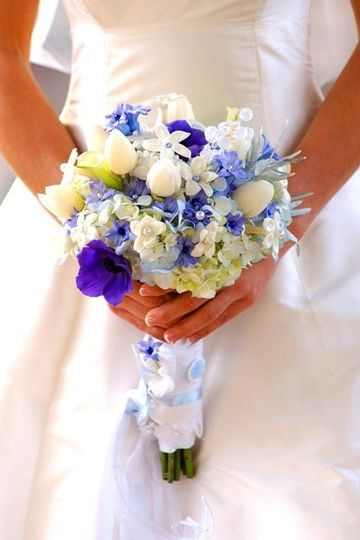 Beautiful blue and white bouquet by Floral Poetry.
