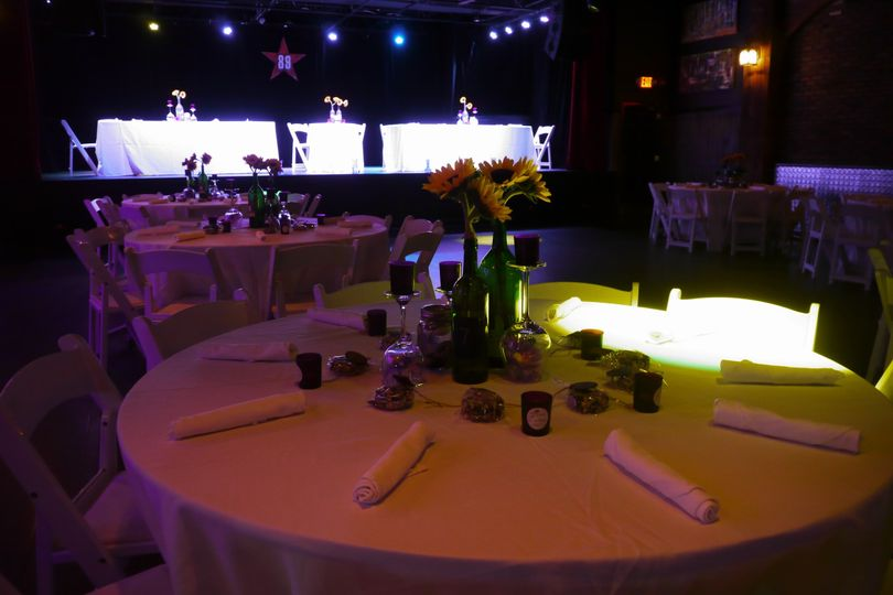 The stage was used for the bridal party dais.