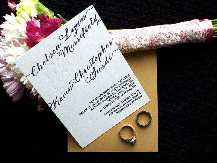 letterpress invitation rings bridal flower