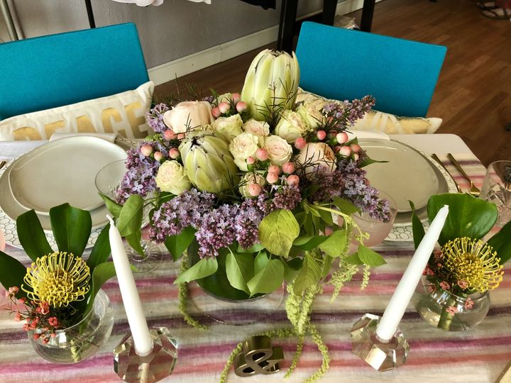 It was such fun to style this tropical sweethearts table for the Stevens Point ArtsWalk at Bria &...