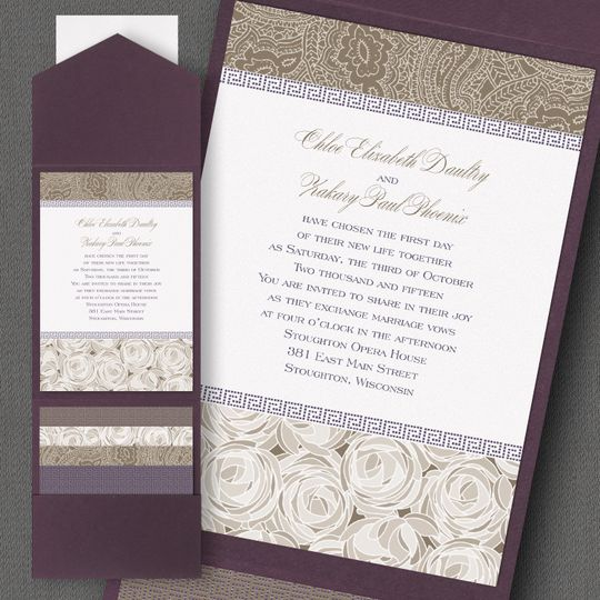 Rose patterned invite