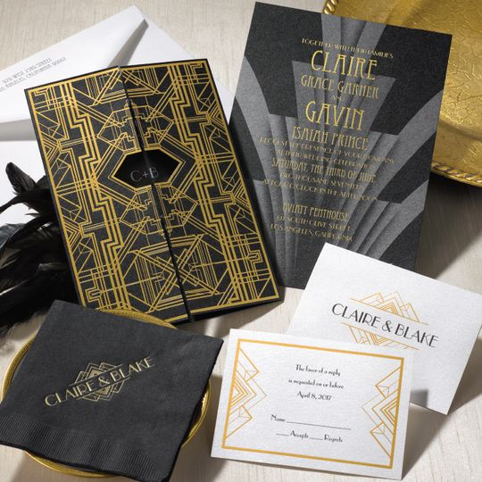 Great Gatsby themed wedding invite