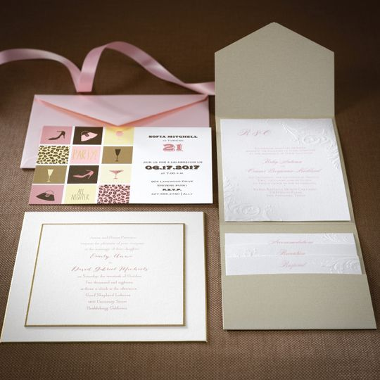 Invite packaging with a ribbon