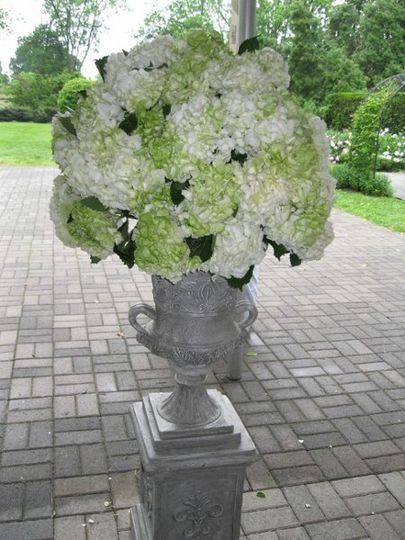 Large alter arrangement of green and white hydrangeas