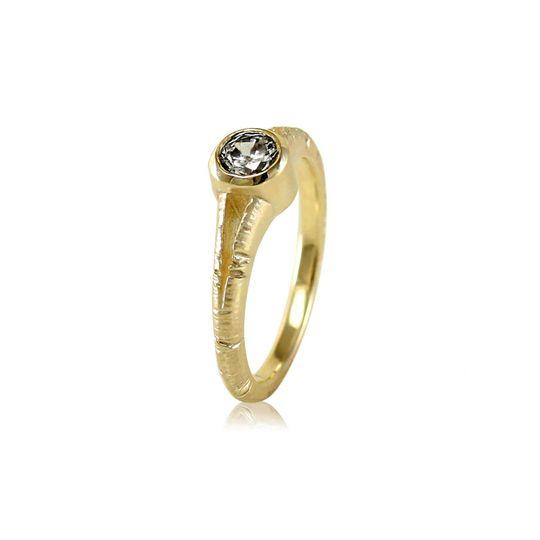 Aspen Bark Split Shank Moissanite Solitaire Engagement Ring  Can be made in:  14k Yellow, Rose, or...