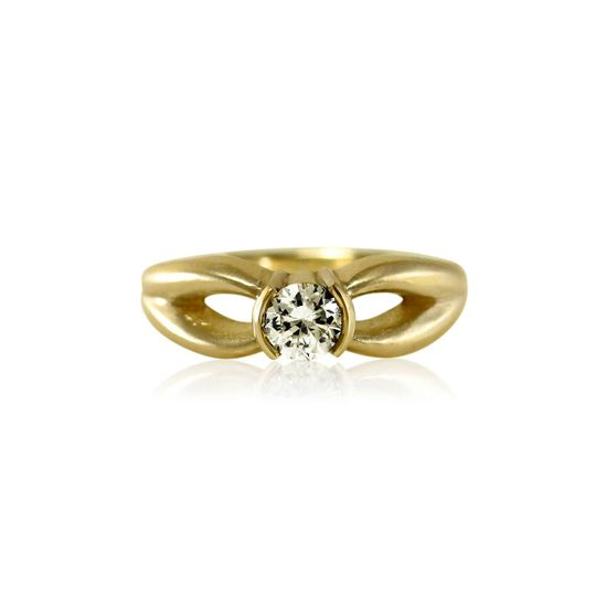 Antler Half Bezel Moissanite Solitaire Engagement Ring  Can be made in:  14k Yellow, Rose, or White...