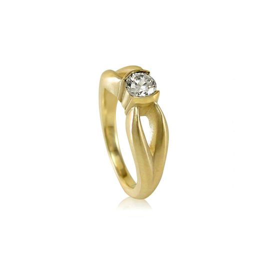 Classic Split Shank Moissanite Solitaire Engagement Ring  Can be made in:  14k Yellow, Rose, or...