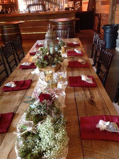 Wooden table setup