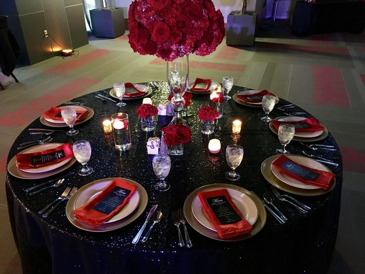 Red and black themed reception