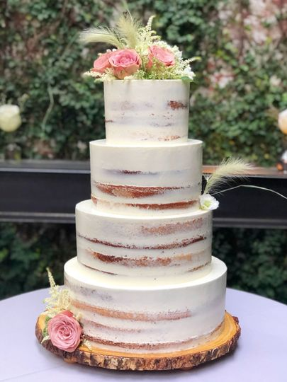 Whimsical semi-naked cake