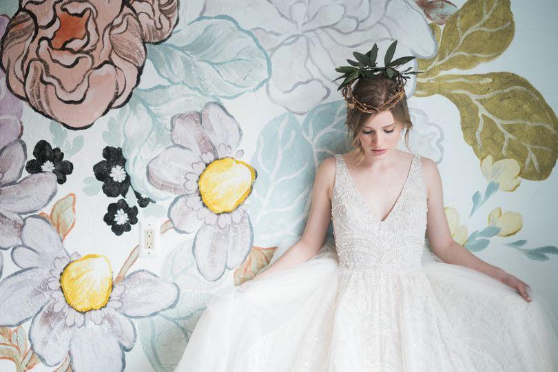 Bride in front of art