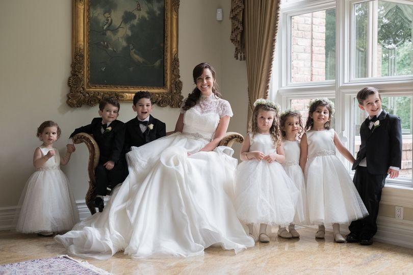 Bride with all the children