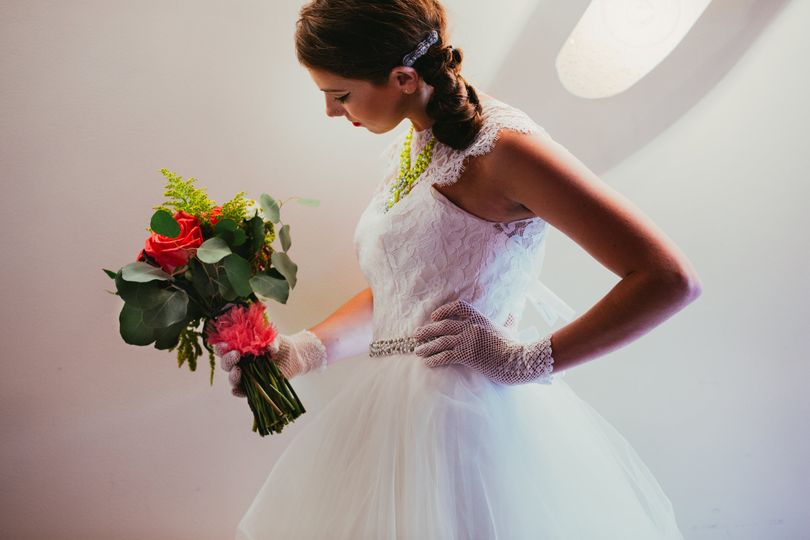 Gorgeous bride in her gown