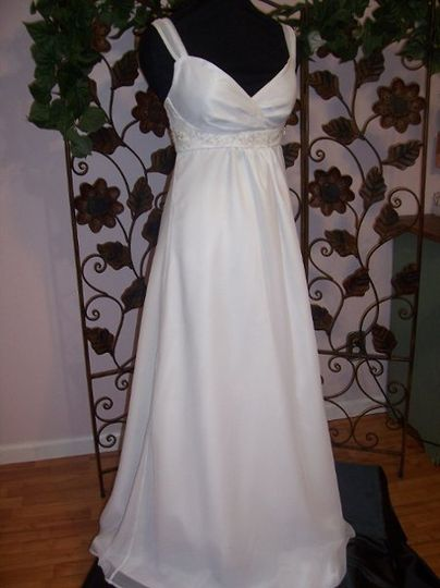Classic Ivory gown with Ivory organza sash. Can be made with Sweetheart neckline