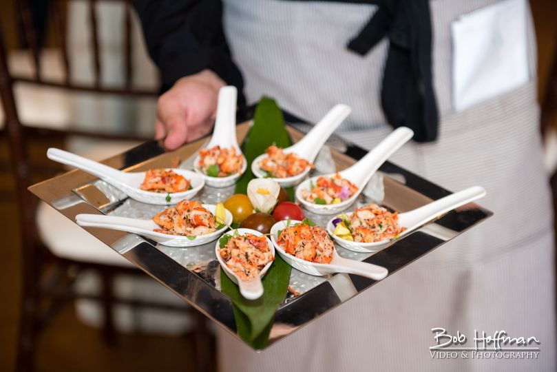 Tray Passed Appetizers- Crab Spoons- Bob Hoffman Photography