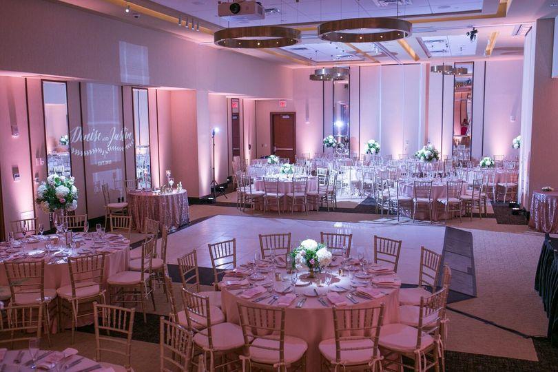 Soft Pantone lighting just sets the mood for this elegant wedding.