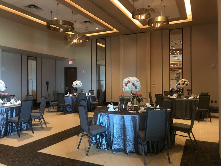 Tmx Ballroom With Gray Hotel Complimentary Chairs 3 Lights On 51 678462 159863032838885 Virginia Beach, VA wedding venue