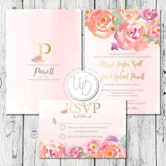 Pink watercolor floral wedding invitation and RSVP card by Trusner Designs, LLC