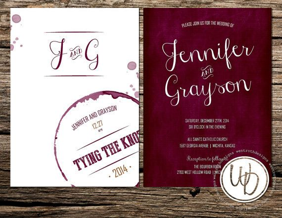 Marsala wine themed wedding invitation by Trusner Designs, LLC